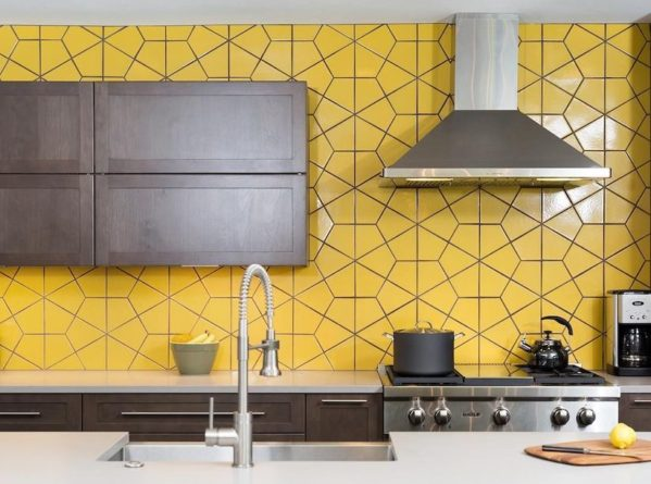 Modern kitchen with bright pop of color.