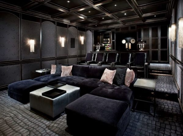 Home theater in a basement.