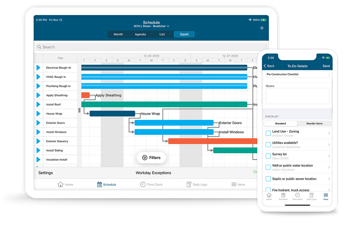 buildertrend software on phone and tablet