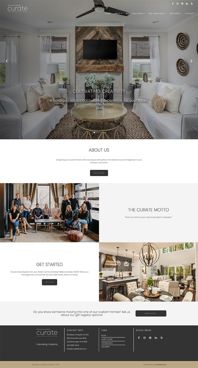 Boutique Living by Curate construction website design