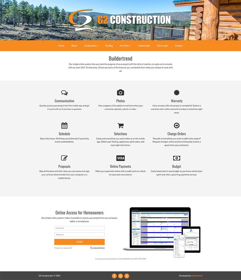 G2 Built construction website design