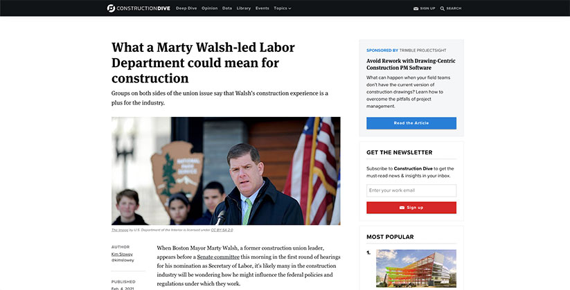Marty Walsh-led Labor Dept and construction