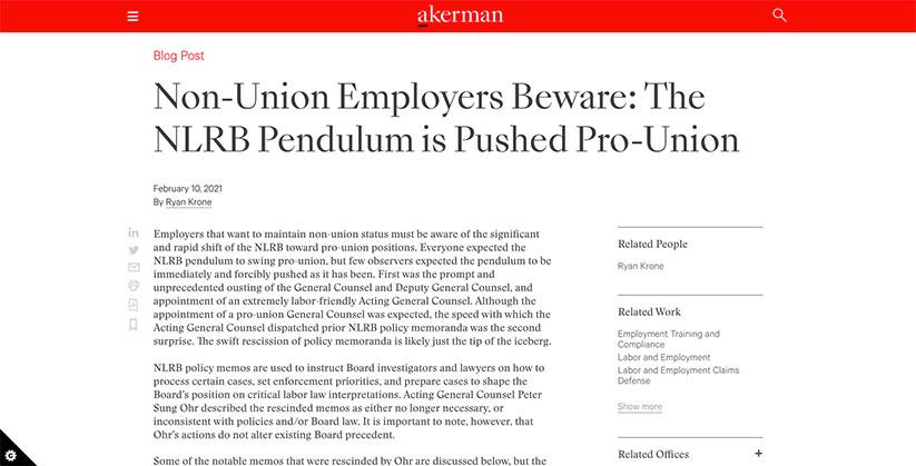 NLRB pendulum pushing pro-union