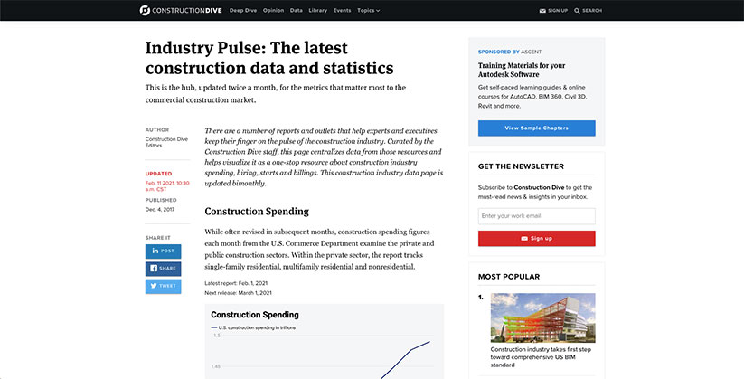 Latest construction data