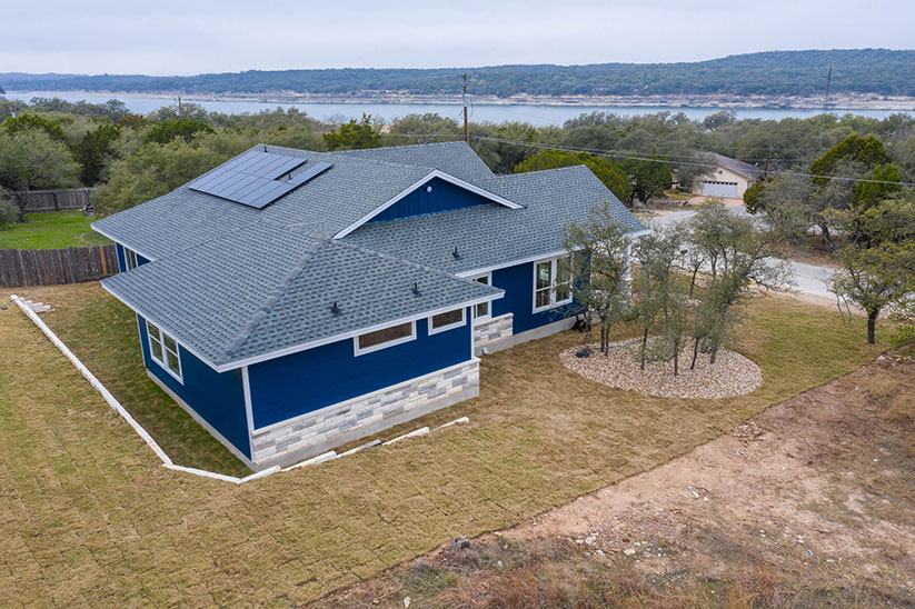 Casey Custom Blue home on river side